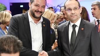 Gemeinsame Sache: Matteo Salvini, Italiens Innenminister und Hichem Fourati Tunesiens Innenminister, trafen sich bereits im Rahmen einer Konferenz zu Sicherheit und Migration am 14. September in Wien (Archivbild)