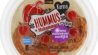 """Enthält Walnuss und Gluten und ist damit für Allergiker gefährlich: Der von Coop zurückgerufene """"Karma""""-Hummus."""