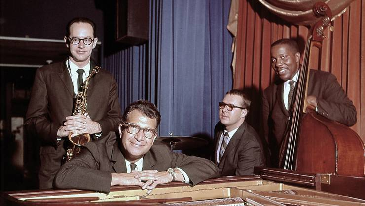 Das «Classic Quartet» 1959: Paul Desmond (Altsax), Dave Brubeck (Klavier), Joe Morello (Schlagzeug) und Eugene Wright (Bass). Michael Ochs Archives/Getty Images