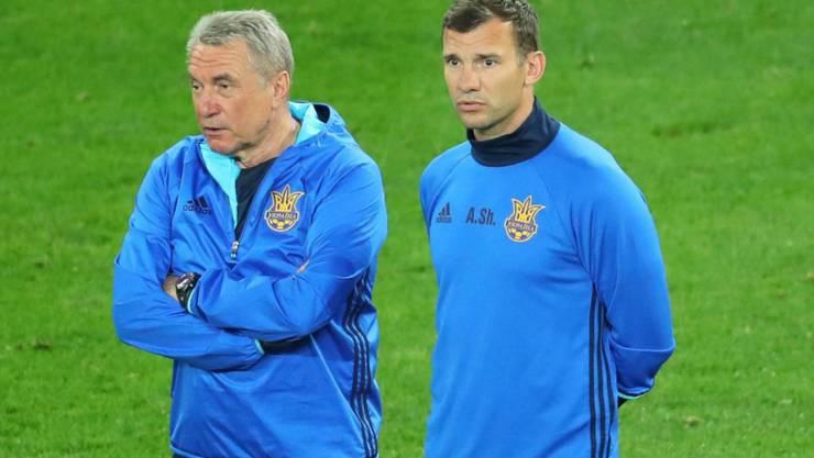 Andrij Schewtschenko (rechts) ist neuer Nationaltrainer der Ukraine