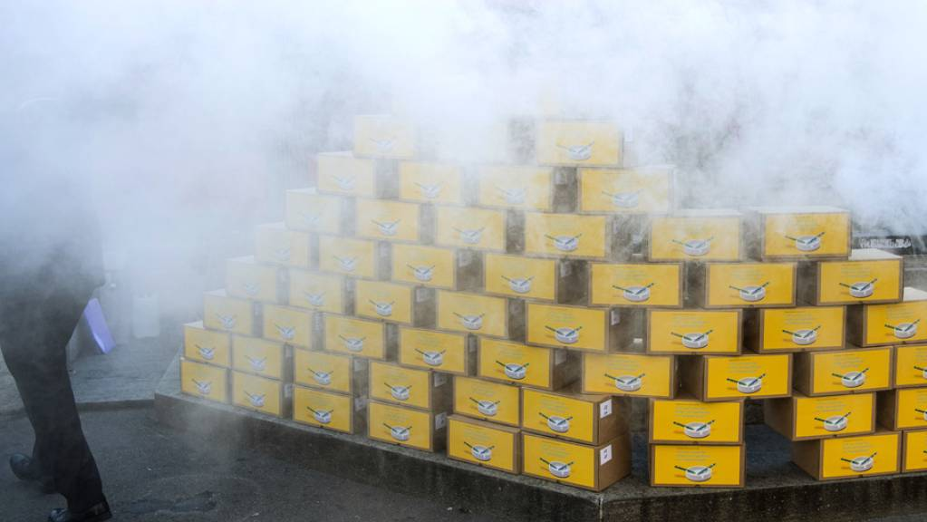Rauch qualmt über den Unterschriftenkisten bei der Einreichung der Initiative «Ja zum Schutz der Kinder und Jugendlichen vor Tabakwerbung» in Bern.