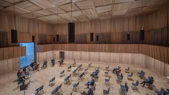 Blick auf den Saal des Orchesterhauses und in die Probe zur Matinee des Luzerner Sinfonieorchesters am Sonntag.