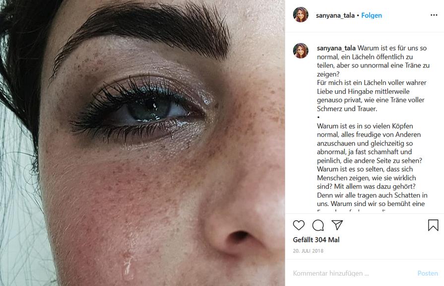 Auf Instagram und Youtube zeigt Sanyana auch, wenn es ihr nicht so gut geht.