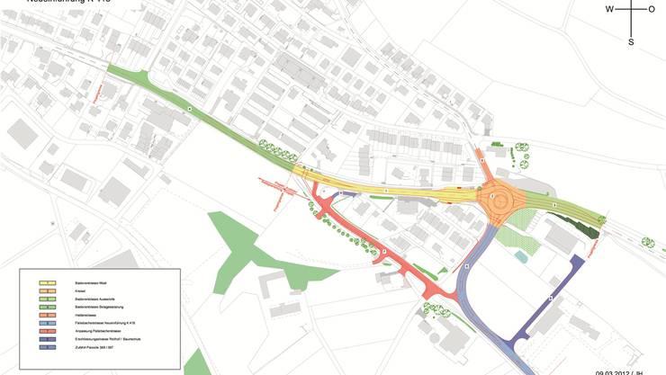 Die Fislisbacherstrasse (in hellblau) soll neu beim Chrüz in die Badenerstrasse münden. Geplant ist ein zweispuriger Kreisel. Damit würden heranfahrende Autos in Birmenstorfs östlicher Dorfeinfahrt gebremst.zVg