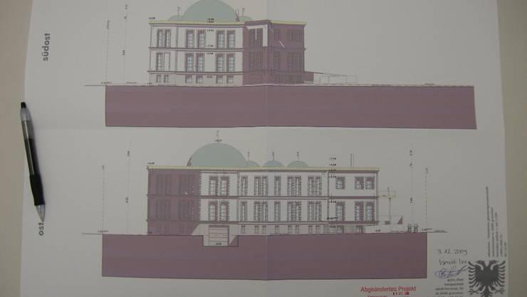 Die Pläne für den Kuppelbau an der Maienstrasse.  uby