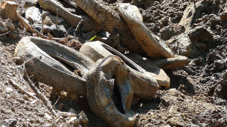 Praktisch unversehrt sind die Pneus, die in den letzten drei Wochen ausgegraben worden sind.