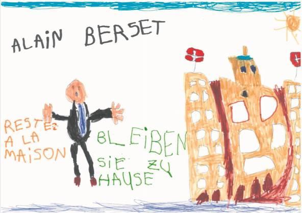 Eine Kinderzeichnung für Alain Berset.