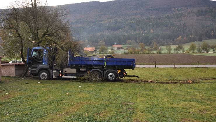 Ein Lastwagenfahrer hat am Samstagmorgen die Kontrolle über seinen Lastwagen verloren.