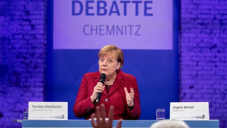 Bundeskanzlerin Angela Merkel spricht mit den Lesern der Freien Presse Chemnitz.