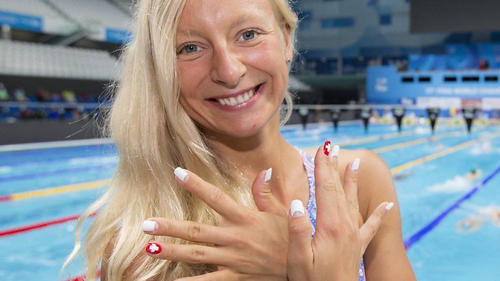 Maria Ugolkova vor ihrem ersten WM-Einsatz im 50-m-Becken in Budapest