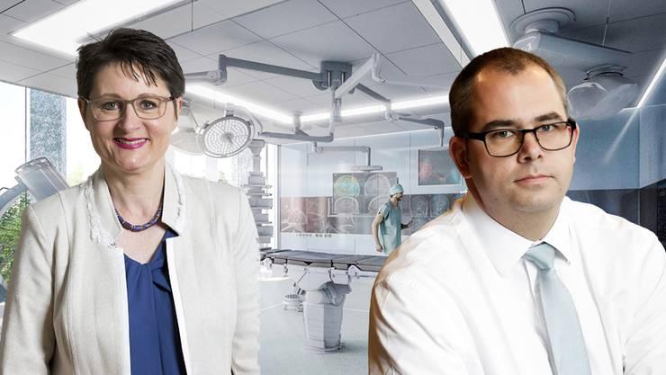 Gesundheitsdirektorin Franziska Roth und Hirslanden-Mann Urs Martin. (Montage)
