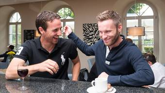 FC-Aarau-Captain Sandro Burki (l.) und FC-Wohlen-Captain Alain Schultz treffen sich zum Mittagessen im «Marco Polo» in Wohlen.