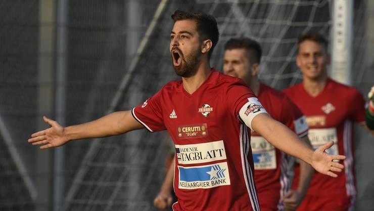 FC-Baden-Captain Luca Ladner jubelt nach dem frühen Treffer zum 0:1.