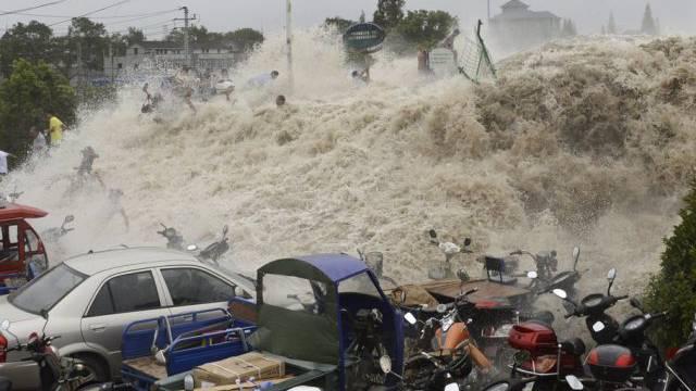 Flutwelle in der chinesischen Provinz Zhejiang