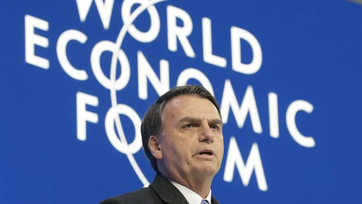 Der brasilianische Präsident Jair Bolsonaro hat am Weltwirtschaftsforum in Davos eine wirtschaftliche Öffnung seines Landes angekündigt.(AP Photo/Markus Schreiber)