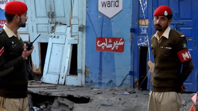 Soldaten am Tatort in Rawalpindi