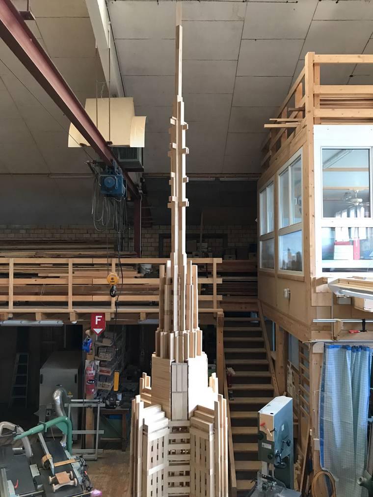Die Spitze des Turm war am Schwierigsten zu bauen. (Bild: Daniel Böckle)