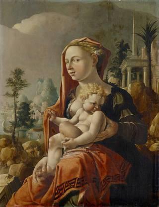 Die Sammlung Alter Meister erwartet uns im Hauptbau. Mit dabei Maerten van Heemskercks porzellanfeine «Madonna mit Kind vor einer Landschaft» von 1530.