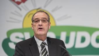 """Will sich """"voller Elan"""" für eine sichere Schweiz einsetzen: Der neue SVP-Bundesrat Guy Parmelin an der Delegiertenversammlung in Wil SG."""