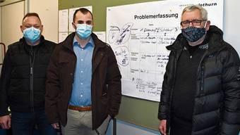 Von links: Sascha Kohler, der Breitenbacher Gemeinderat David Häner, Kantonsrat Mark Winkler.