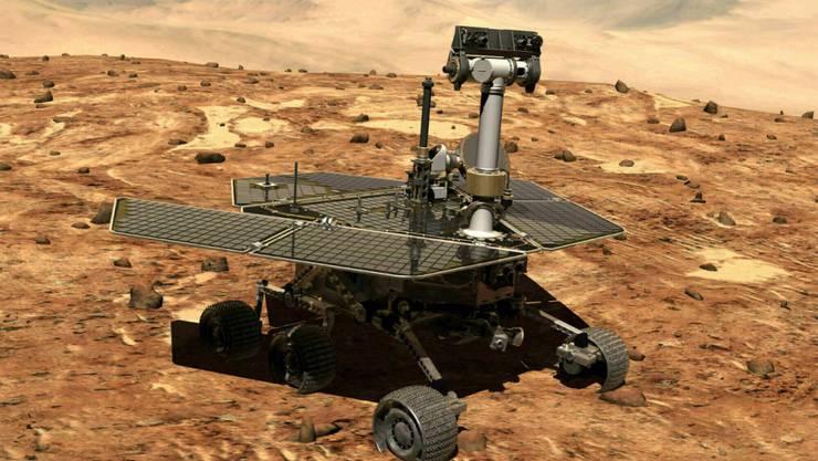 """Allein und verlassen auf dem Mars: Der Rover """"Oportunity"""" war seit 2004 auf dem Roten Planeten und wurde jetzt aufgegeben."""