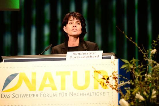 Bunderrätin Doris Leuthard spricht an der Natur-Messe in Basel