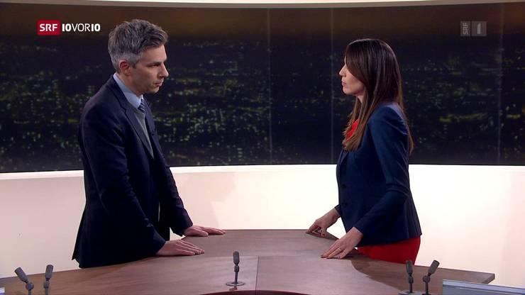 Dauergast im Deutschschweizer Fernsehen: Marcel Salathé im Gespräch mit «10vor10»-Moderatorin Susanne Wille.