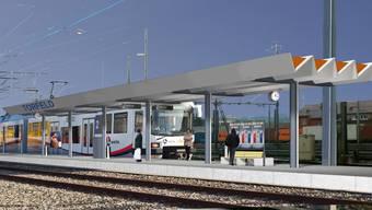 So soll die neue Haltestelle im Torfeld ab Dezember 2017 aussehen. (Visualisierung)