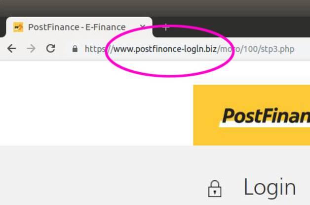 Zum Beispiel www.postfinonce statt www.postfinance.