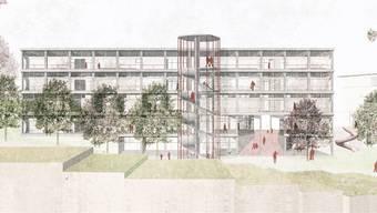 Der Entwurf «L'école et son jardin» mit Treppenturm und Rutschbahn.