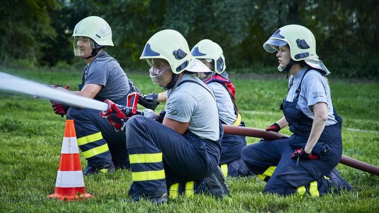 Besuch bei der Feuerwehrübung der Regiowehr Suhrental anlässlich des 150-Jahr Jubiläums des Schweizerischen Feuerwehrverbandes.