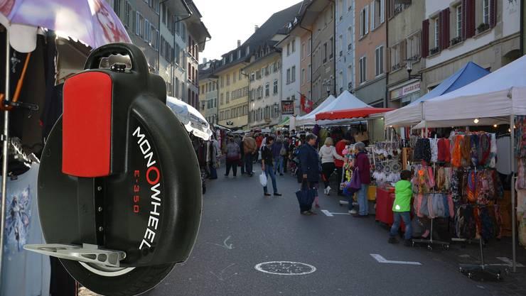 Auf öffentlichem Grund (hier die Altstadt Brugg) ist der Einsatz des Monowheels verboten.