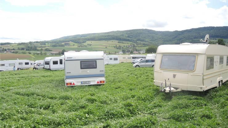 Die französischen Fahrenden sind Anfang Juni nach Freienwil gereist. Seither campieren sie oberhalb des Dorfes.