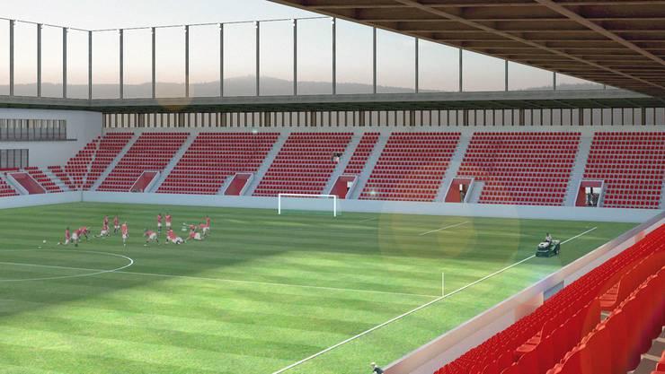 Blick hinein: So soll das Stadion innen aussehen. Es soll Platz für 10'000 Zuschauer bieten.