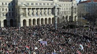 Demonstrationen zum ungarischen Nationalfeiertag in Budapest