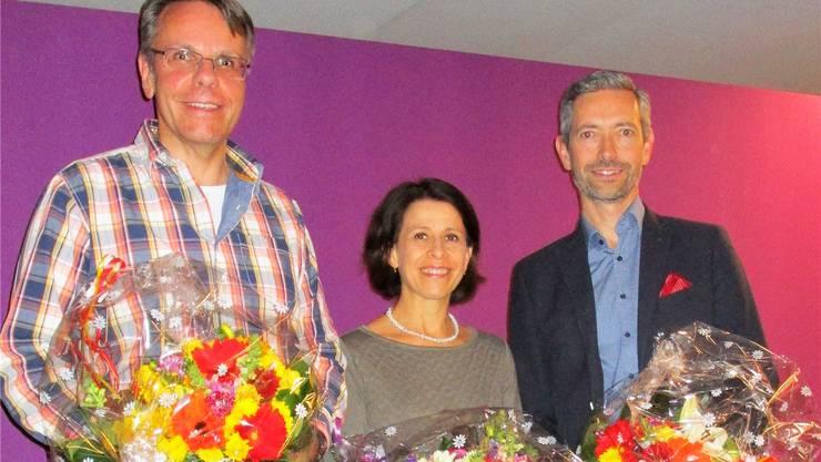 Wechsel bei der CVP Schönenwerd (v.l.): Der neue Präsident Daniel Mertenat mit dem abtretenden Vorstandsmitglied Karen Grossmann und dem abtretenden Präsidenten Beat Keller.
