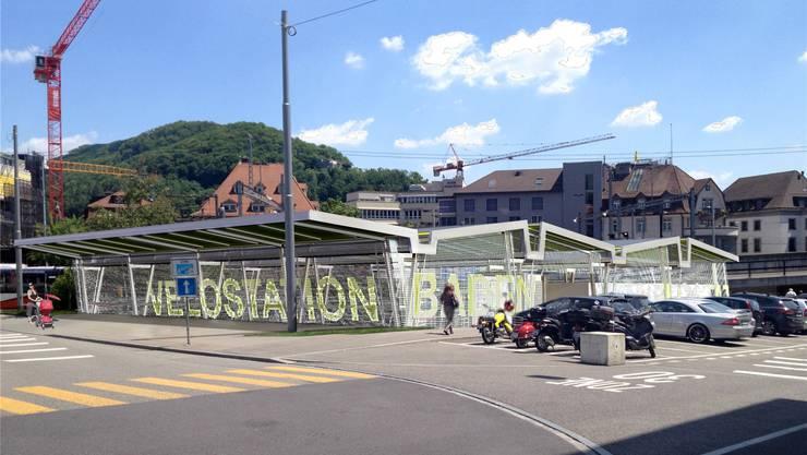 So soll die Velostation beim Bahnhof aussehen – sie wird von einem Zaun umgeben.