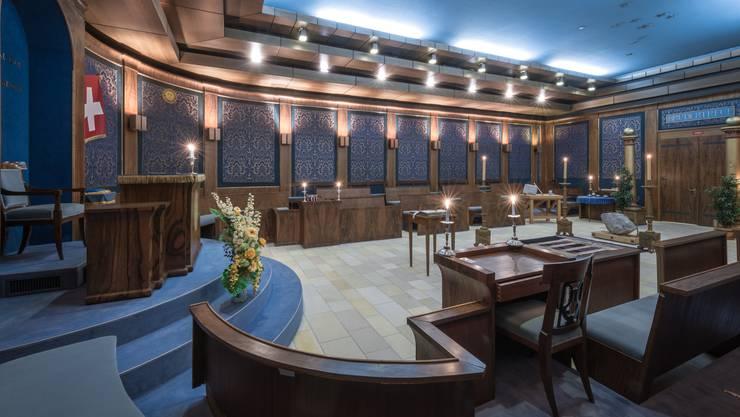Die Gemeinschaft der Freimaurer-Bruderschaft hat ihren Sitz im Wielandhaus in Aarau. Im Bild: Der Freimaurertempel im zweiten Untergeschoss des Aarauer Wielandhauses.