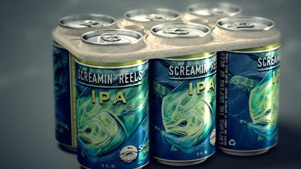 Die Sixpack-Halterung besteht aus Resten von Gerste und Weizen. Gelangt sie als Abfall in den Ozean ernährt sie die Fische.
