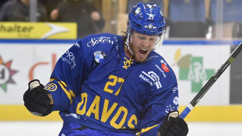 Magnus Nygren, neuer schwedischer Verteidiger beim HC Davos, kam gegen Servette zu zwei Assists.