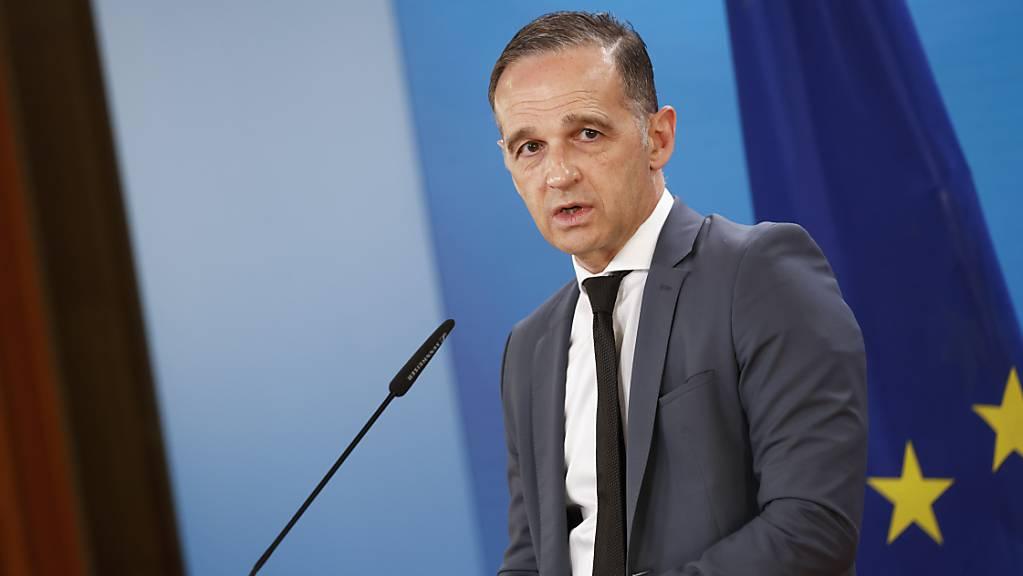 Der deutsche Aussenminister Heiko Maas (SPD) hält eine Pressekonferenz im Aussenministerium.