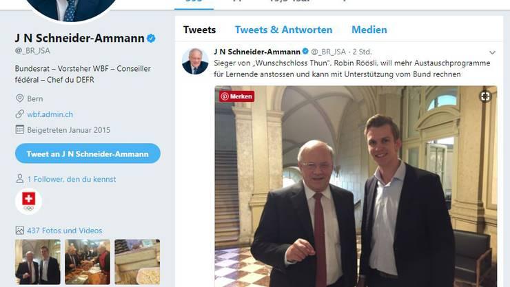 Der FDP-Bundesrat twitterte sogar über sein Treffen mit dem Freienwiler!
