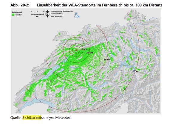 Einsehbarkeit der WEA-Standorte im Fernbereich bis ca. 100 km Distanz aus der Sichtbarkeitsanalyse des SWG