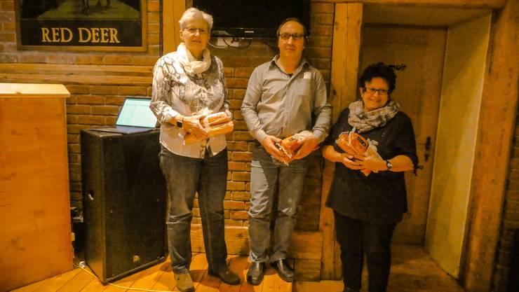 von links nach rechts  Nünlist Dora, Strähl Fredy und Bürgi Elsbeth