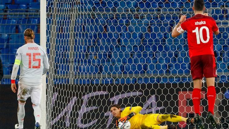 Was für Emotionen! Sommer hält den Penalty von Ramos, Xhaka jubelt. Am Ende fällt der 1:1-Ausgleich doch noch.