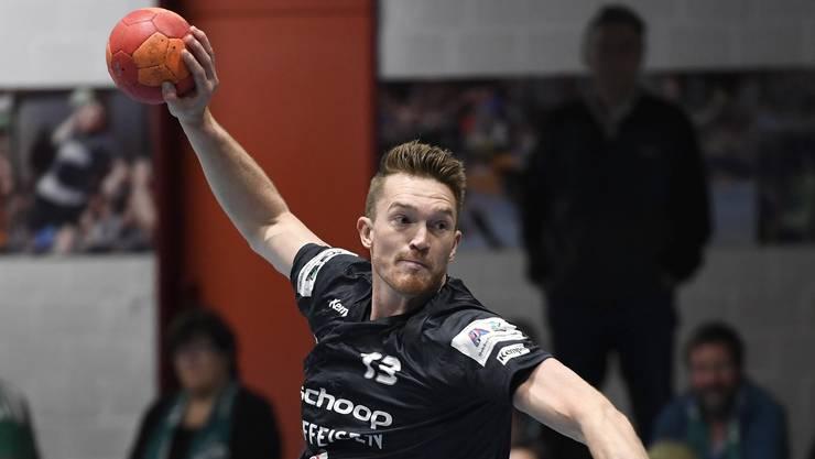 Baden, 16.10.2019. Sport, Handball Schweizer Cup Saison 2019 / 2020. STV Baden (NLB) - Wacker Thun (NLA). Malvin Patzack (Baden). Copyright: Alexander Wagner Copyright by: Alexander Wagner Baden, 16.10.2019. Handball, Schweizer Cup Saison 2019 / 2020. STV Baden (NLB) - Wacker Thun (NLA)