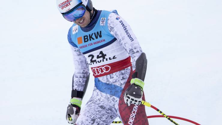 Ein enttäuschter Mauro Caviezel nach seinem Einsatz im WM-Super-G in St. Moritz