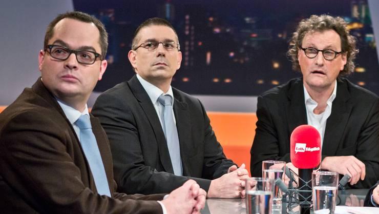 Roger Huber (FDP), Markus Schneider (CVP) und Geri Müller (team baden) im Tele-M1-Studio. Chris Iseli