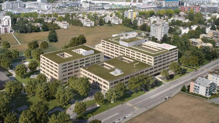 Das neue Pflegezentrum Spital Limmattal (Gebäude hinten links) soll 2023 in Betrieb genommen werden.