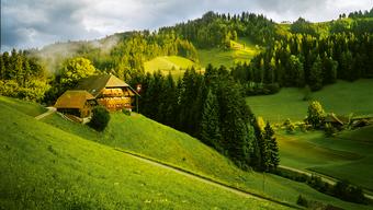 Ja, lueg, so schön ist es. Sanfte Hügel, grosse Häuser, die vereinzelt und majestätisch die Wiesen säumen. Emmental – du heile, heile Welt. Das Dorf heisst tatsächlich Lueg.